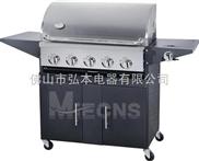 5炉头 黑色喷涂烧烤炉 燃气烧烤炉 煤气烧烤炉 BBQ烧烤炉